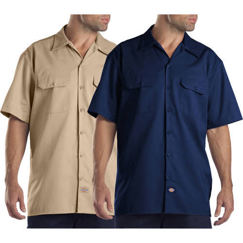 Dickies Men's Short Sleeve Twill Work Shirt, 2 Pack