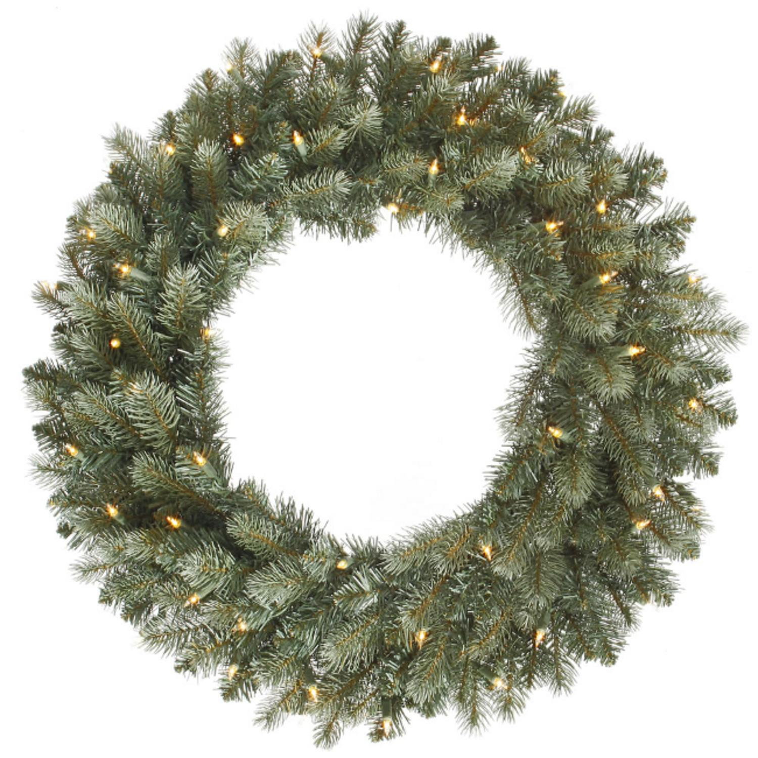 "48"" Pre-Lit Colorado Blue Spruce Christmas Wreath - Clear Dura Lights"