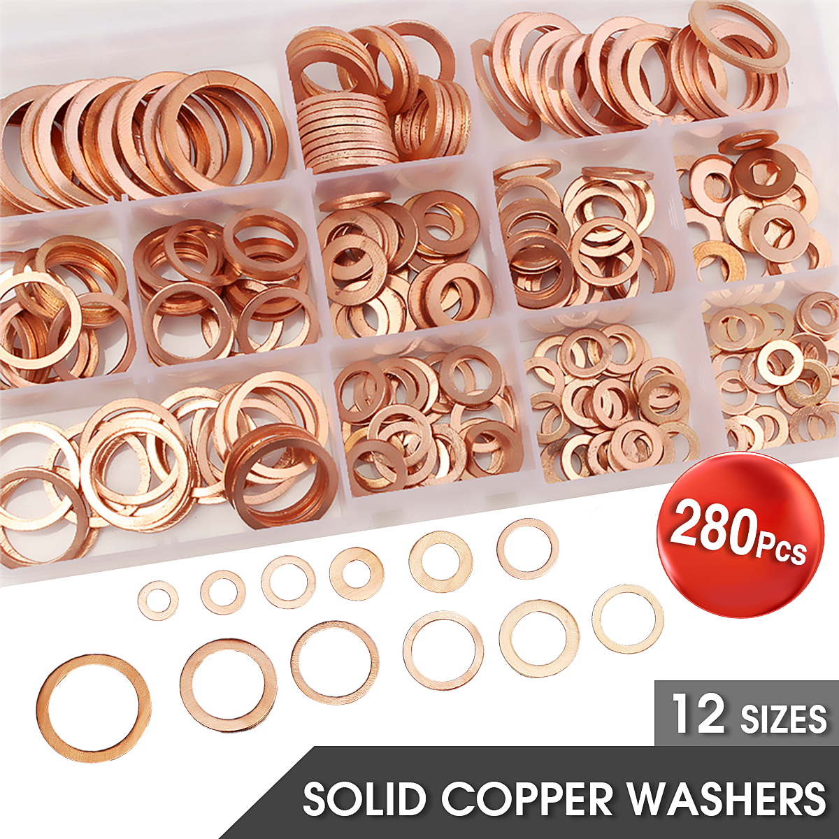 280Pcs 12 Sizes Assorted Solid Copper Crush Washers Seal Flat Ring w/Case Kit US