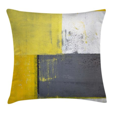 Grey and Yellow Throw Pillow Cushion Cover, Street Art Modern Grunge Abstract Design Squares, Decorative Square Accent Pillow Case, 18 X 18 Inches, White Charcoal Grey and Light Yellow, by (Abstract Decorative Art)