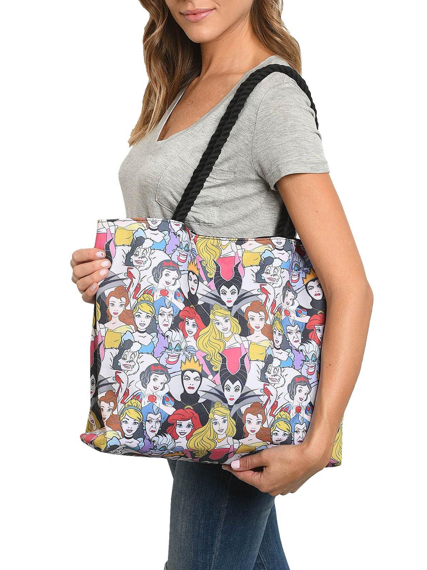 Tote Disney Villains Cruella Malificent Ursulla shopping tote book bag 3 available