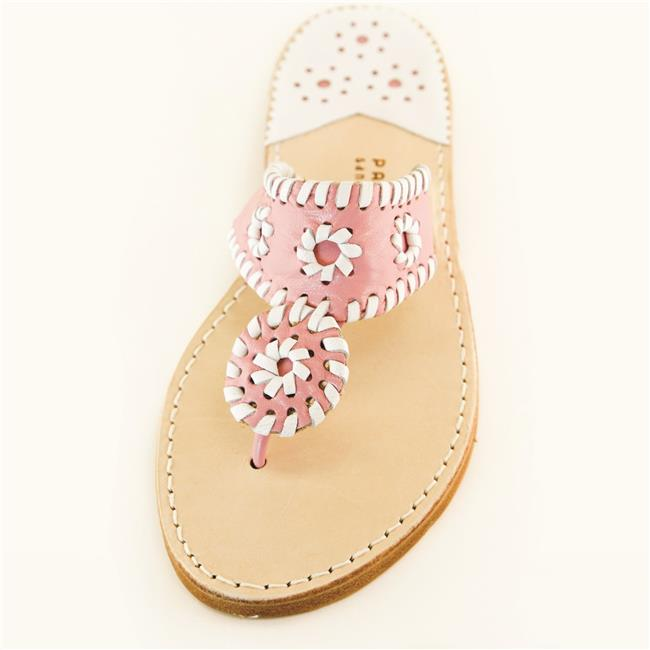 Palm Beach Sandals PB1016-7.5 Hand Crafted Womens Leather Sandals, Pink & White - Size 7.5 - image 1 de 1