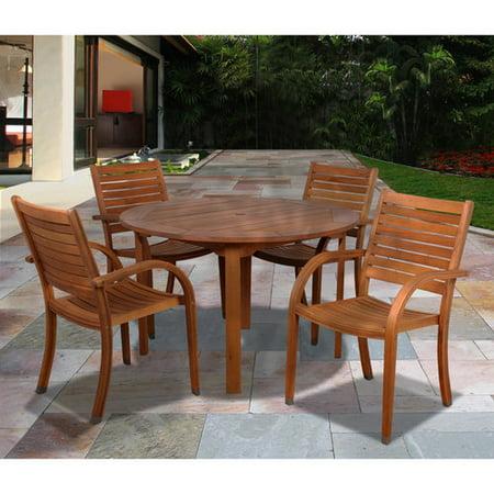Arizona 5-Piece Eucalyptus Round Patio Dining Set, Brown ()