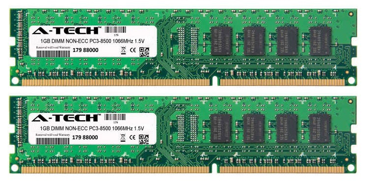2GB Kit 2x 1GB Modules PC3-8500 1066MHz 1.5V NON-ECC DDR3 DIMM Desktop 240-pin Memory Ram