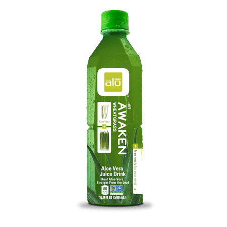 Alo Awaken Aloe Vera Juice Drink, Wheatgrass, 16.9 Fl Oz, 12 Count
