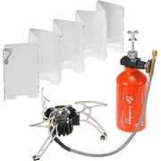 Outdoor Camping Multi Fuel Oil Stove with 500ml Gasoline Fuel Bottle and 9Plate Camp Stove Windscreen Windshield for Diesel Alcohol