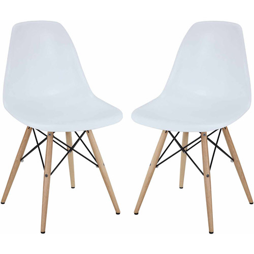Modway Pyramid Dining Chairs, Set of 2, White