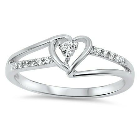 Women's Heart White CZ Promise Ring New .925 Sterling Silver Band Size