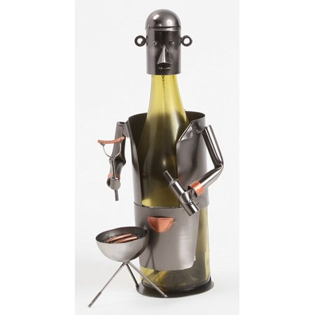 Game On Sports Fan Tailgate Grill Time Shaped Metal Wine Caddy Bottle Holder, Measures 8 x 7 x 6 inches By Berkeley