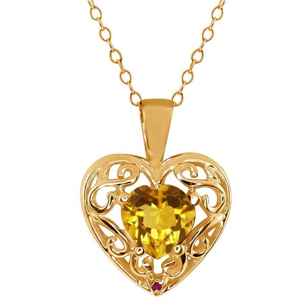 0.73 Ct Heart Shape Citrine Red Rhodolite Garnet Gold Plated Silver Pendant