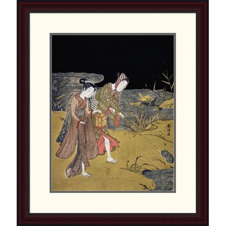 Global Gallery A Young Couple Catching Fireflies At Night On The Banks Of A River By Suzuki Harunobu Framed Painting Print