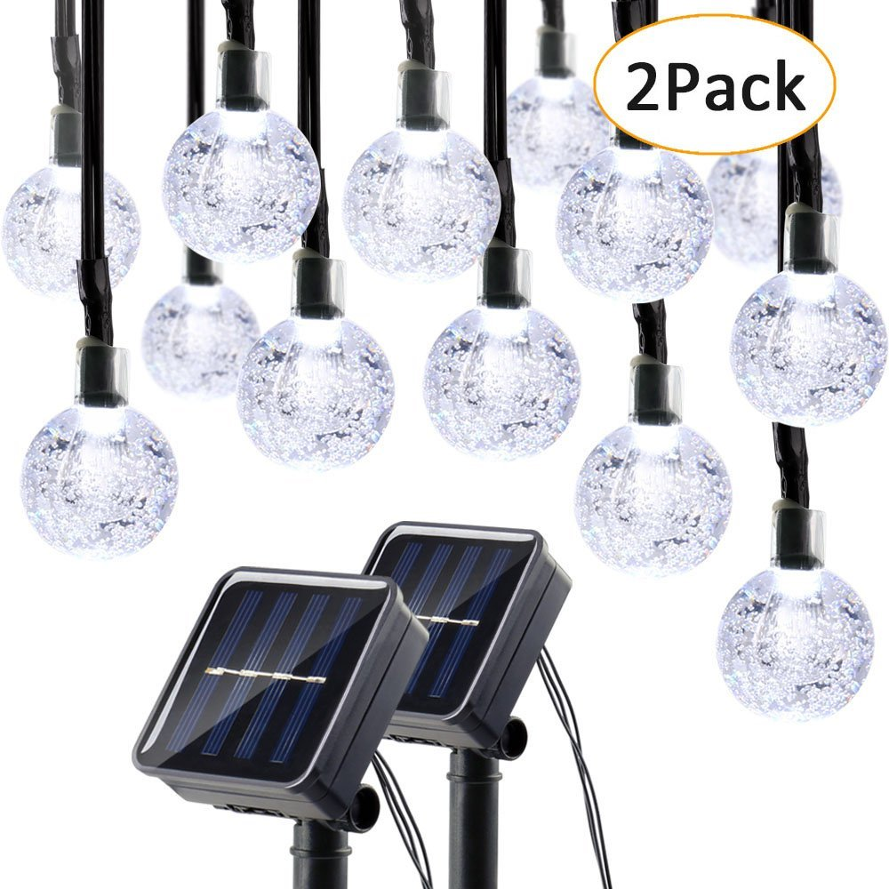 Qedertek 2 Pack Globe Solar String Lights, 19.7ft 30 LED Fairy Lights, Outdoor Solar Lights for Home, Gazebo, Patio, Lawn, Garden, Party and Holiday Decoration(Cool White)