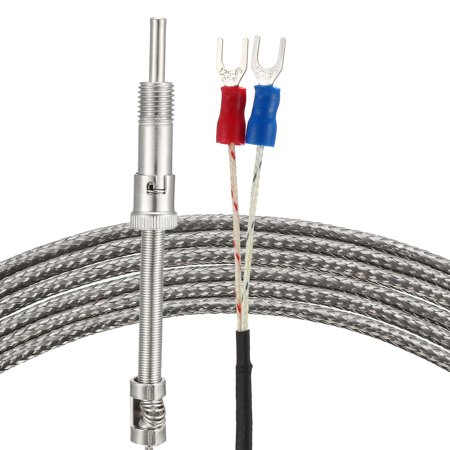 K Type Thermocouple Spring Type Temperature Sensor Probe 2M Cable 5mmx30mm Probe 32~1112°F (0~600°C) M12 Thread - image 3 de 3