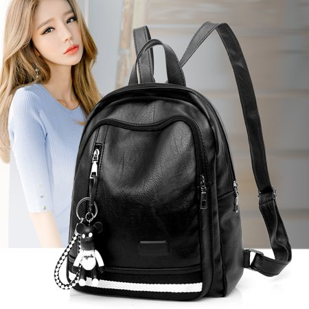 Black Leather Backpack - 2018 Lady Fashion Backpacks Black PU Leather School Bookbag Travel Shopping Double Shoulder Bag