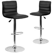Contemporary Vinyl Adjustable Height Barstool with Horizontal Line Upholstery and Chrome Base, Set of 2, Multiple Colors