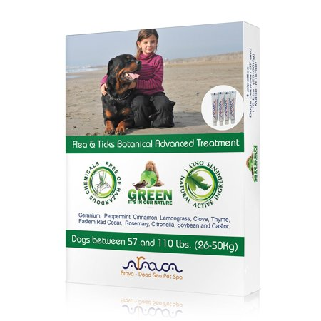 Arava Flea and Tick Control Drops Treatment for Dogs (22-55 lbs) - Natural Aromatherapy Medicated. Repels Pests with Natural Oils - Safe on Skin and Coats - Enhanced Defense &