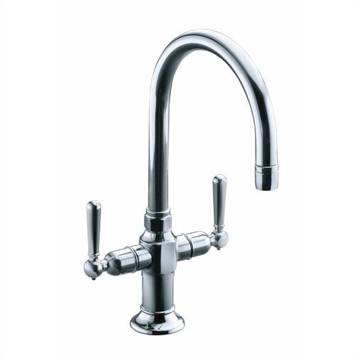 KOHLER K-7342-4-BS HiRise Stainless Two Handle Bar Sink Faucet, Brushed Stainless