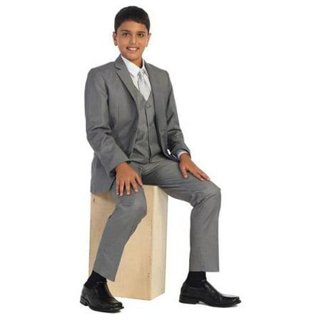 Little Boys Steel Gray Vest Pants Jacket Necktie White Shirt 5 Pcs Suit Set 2-7