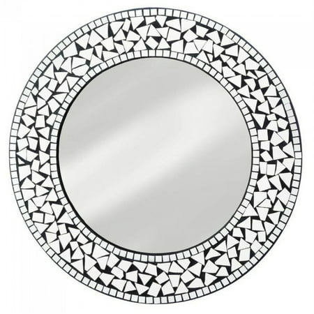 Accent Plus Bedroom Wall Mirror, Wood Round Mosaic Decorative Bedroom Wall Mounted Mirror (Wood Mosaic)