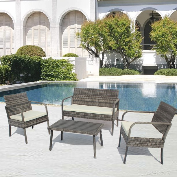 Outdoor Patio Furniture Sets Clearance, 4-Piece Gray ...