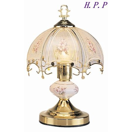 h.p.p. 14.3''h new glass white glass floral touch tIle lamp w/ gold finish