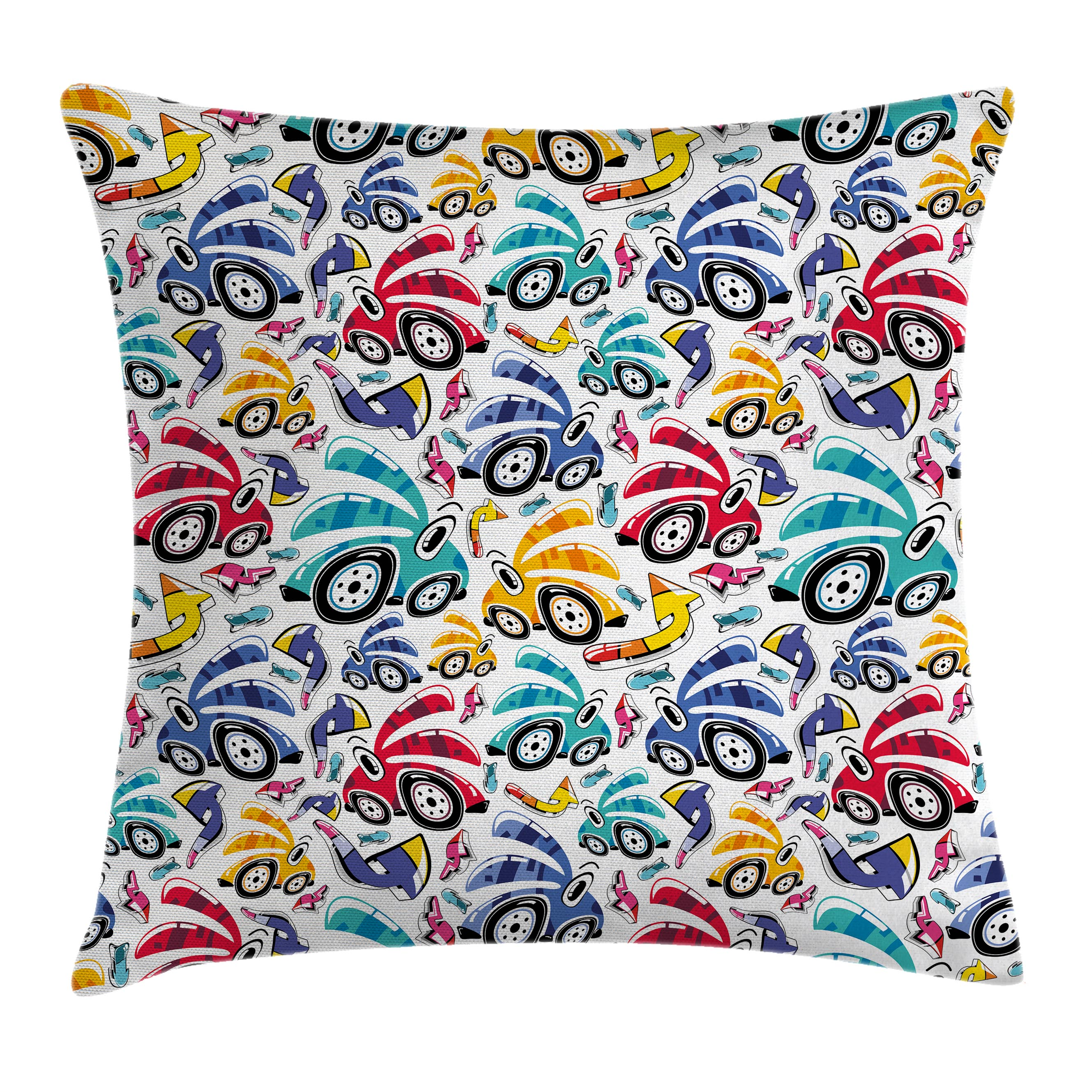 Modern Decor Throw Pillow Cushion Cover, Vintage Cartoon Like Rainbow Vivid Colorful Cars For Kids Nursery Room Print, Decorative Square Accent Pillow Case, 16 X 16 Inches, Multicolor, by Ambesonne