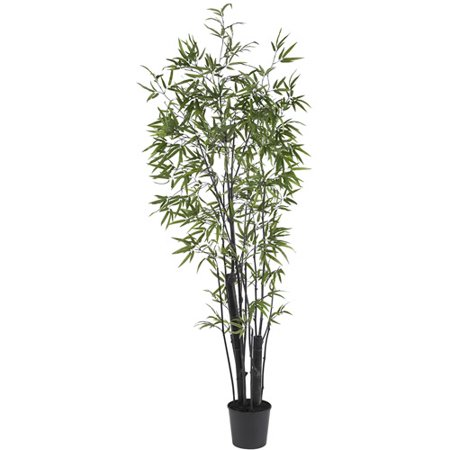 Nearly Natural 6 ft. Black Bamboo Silk Tree, 2 Thick Trunks