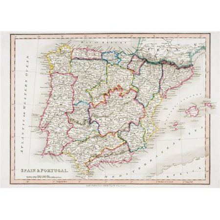 Map Of Canada In 1850.Posterazzi Dpi1862427large Map Of Spain Portugal From Smiths