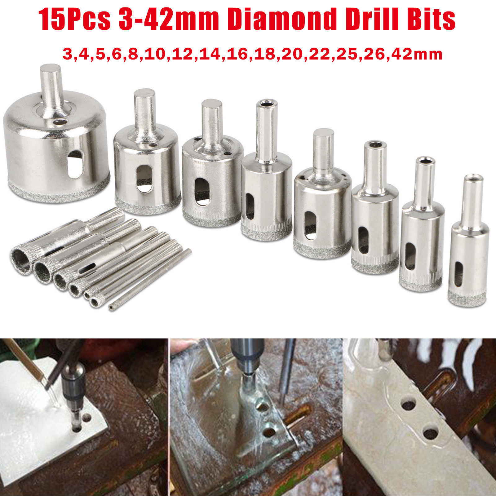 15PCS 3-42mm Diamond Coated Core Hole Saw Drill Bit Set Tools for Glass Marble tile granite Neat Smooth High Quality Metal Material