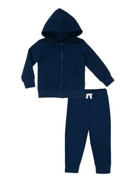 Little Star Organic Baby Boys and Toddler Boys True Brights Hoodie Sweatshirt & Jogger Pants, 2-Piece