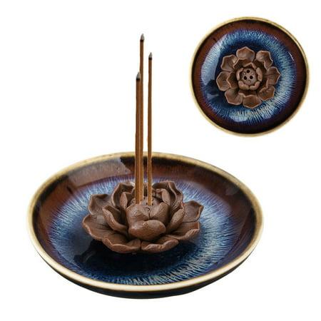 3 Hole Ceramic Handmade Lotus Flower Plate Incense Censer Holder Burner Buddhist