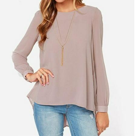 New Women Irregular Hem Chiffon Casual Tops Blouse Shirt Pleated Oversize