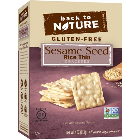 Back to Nature Gluten-Free Sesame Seed Rice Thin Crackers, 4