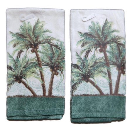 Set of 2 Key West PALM TREES Terry Cloth Kitchen Towels, by Kay (Palm Plus Dish)