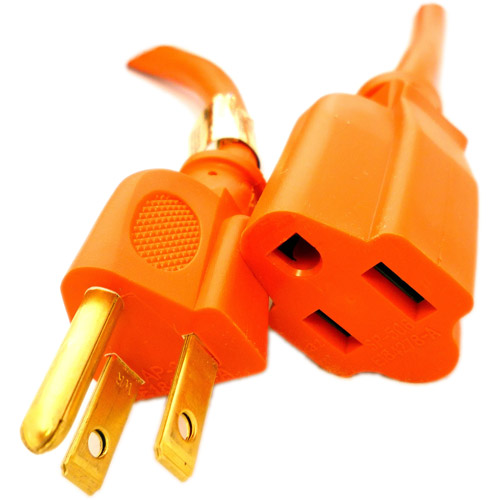 Professional Cable 3-Prong 25' Indoor/Outdoor 16 AWG Power Cord Extension, Heavy Duty Orange