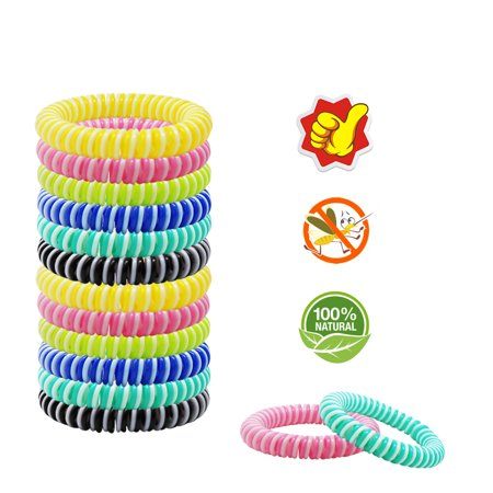 10-Pack Mosquito Repellent Bracelet - 100% All Natural Plant Based Oil, Non-Toxic Travel Insect Repellent, Safe - Kids, Adults and Teens - Keeps Bugs