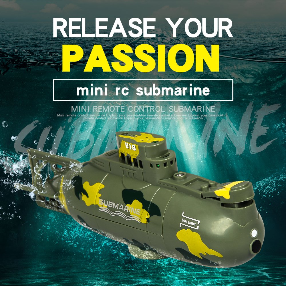 Create Toys 3311M Mini RC Submarine Boat RC Toy Remote Control Waterproof  Diving Birthday Gift for Kids Boys