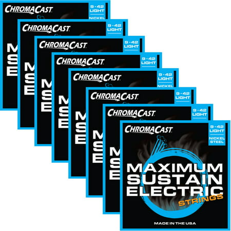 ChromaCast Maximum Sustain Electric Light Gauge (.009-.042) Guitar Strings, 8-Pack