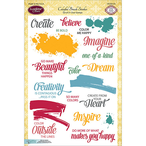 """JustRite Papercraft Clear Stamp Set, 6"""" x 8"""", Colorful Brush Strokes"""