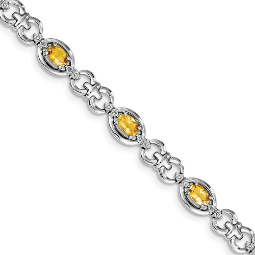 Sterling Silver Diamond & Citrine Bracelet. Carat Wt- 0.09ct. Gem Wt- 3.4ct by Jewelrypot