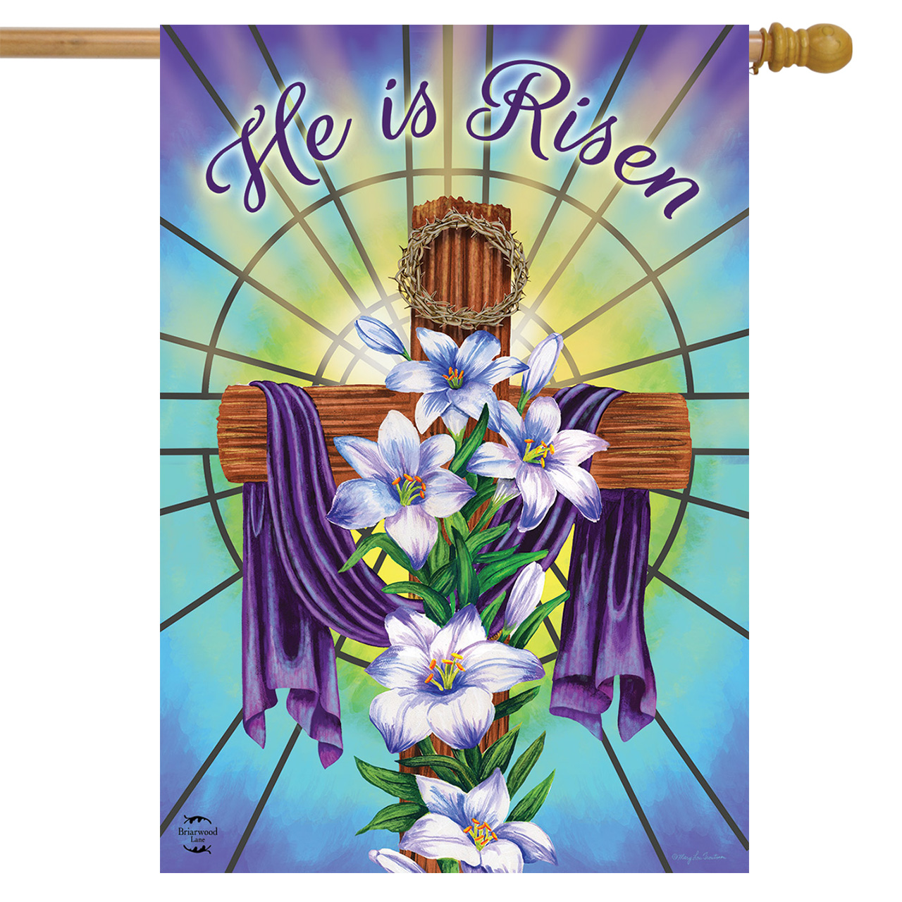 """Easter Cross Religious House Flag Holiday Lilies 28"""" x 40"""" Briarwood Lane"""