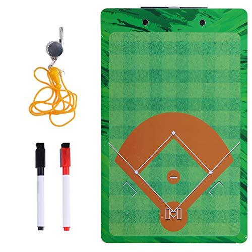 Baseball Coaches Dry Erase Clipboard – Softball Double Sided Lineup Board Bundled with Whistle and Dry Erase Markers
