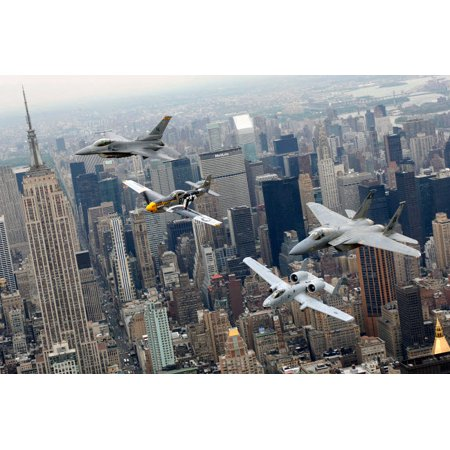 A P-51 Mustang an F-16 Fighting Falcon an F-15 Eagle and an A-10 Thunderbolt II fly over New York City Poster Print by Stocktrek - Mustang Bald Eagle