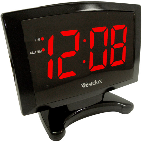 "Westclox 1.8"" LED Plasma Alarm Clock, Black"