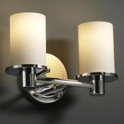 Justice Design Group  2-light Flat Rim Opal Cylinder Polished Bath Bar Fixture