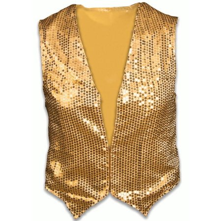 Dazzled Adult Sequin Vest Silver Gold Standard Halloween Dance Costume Accessory