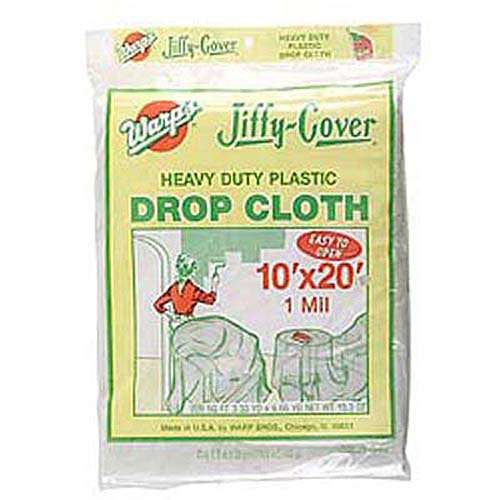 Warps JC-1020 10' x 20' Clear Jiffy Cover Heavy Duty Plastic Drop Cloth