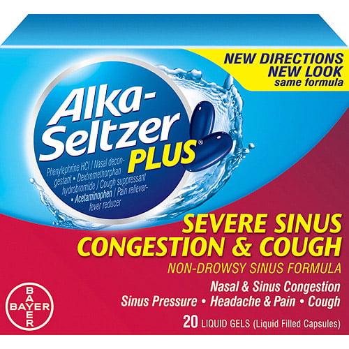 Alka-Seltzer Plus Sinus Formula Severe Sinus Congestion & Cough Nondrowsy Liquid Gels, 20ct