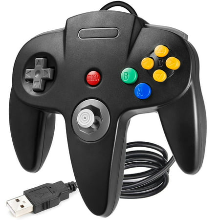 iNNEXT USB Retro N64 Controller, Classic Retro N64 Wired USB PC Game pad Joystick, N64 Bit USB Wired Game Stick Joy pad Controller for Windows PC MAC Linux Raspberry Pi (Dual Stick Game Pad)