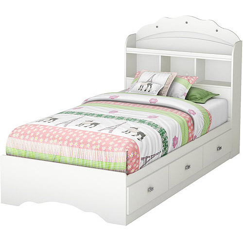 South Shore Tiara Twin Mates Bed & Bookcase Headboard, White